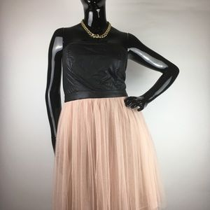 XXI Faux Leather/Tulle Dress